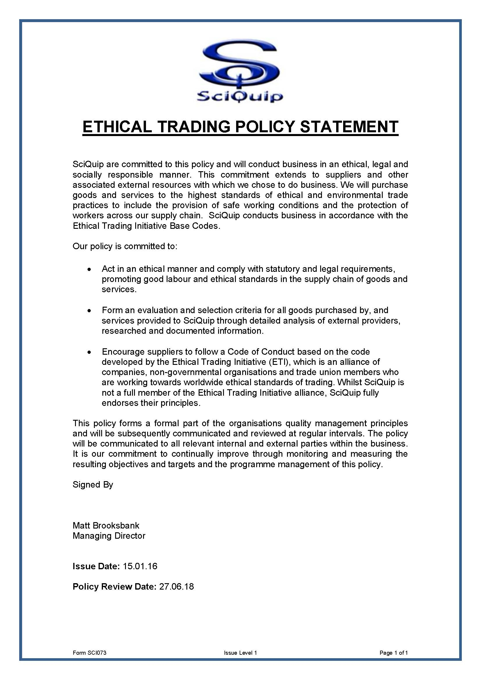 Ethical Trading Policy Statement
