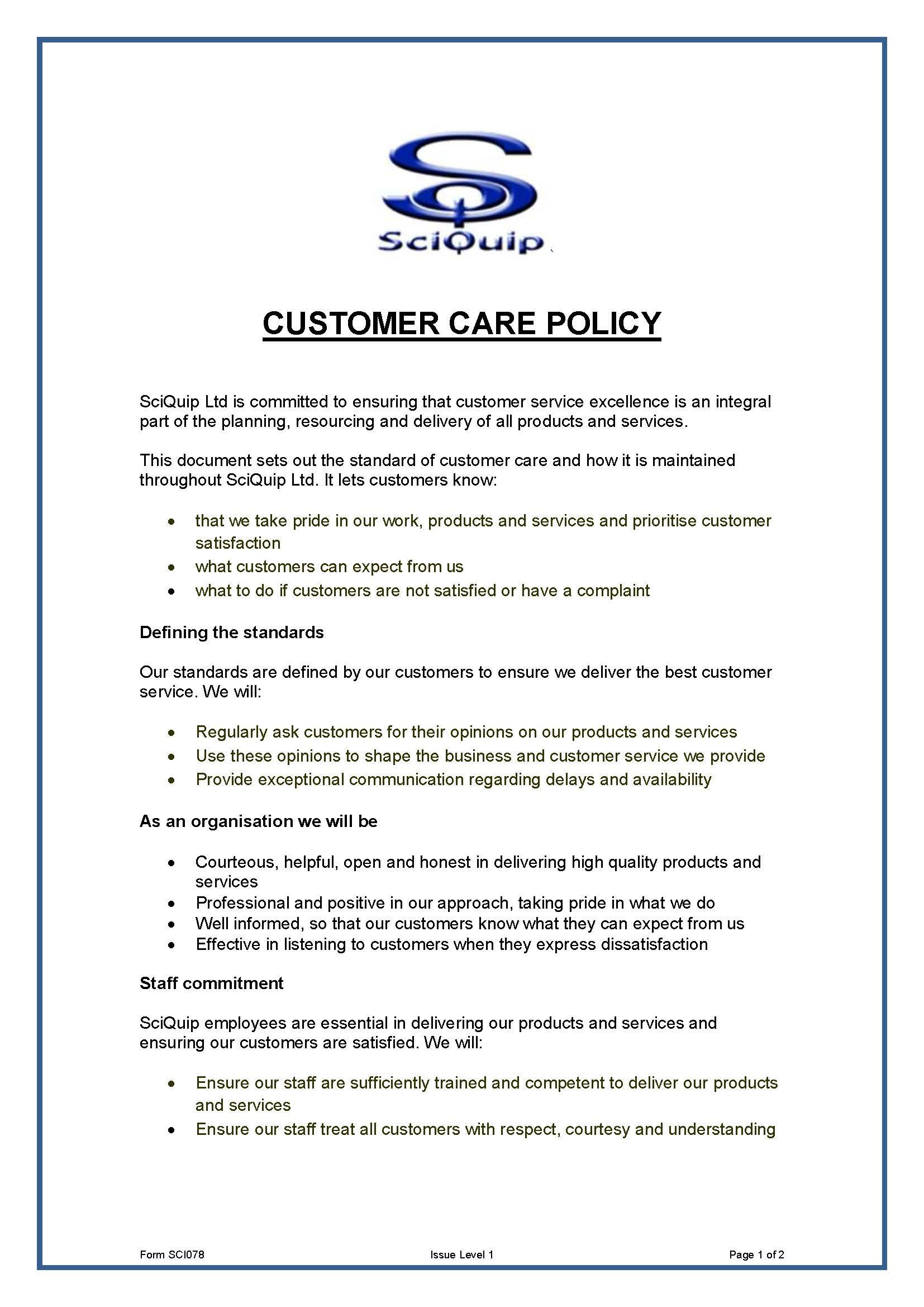 Customer Care Policy